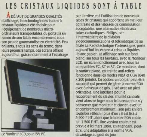 Les cristaux liquides sont à table (Science & Vie Micro n° 67, décembre 1989, page 20)