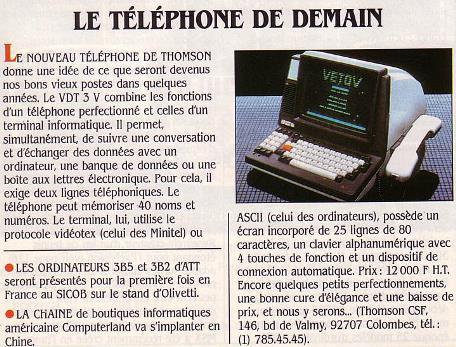 Le VDT 3 V de THOMSON : le téléphone de demain (SVM n° 9, septembre 1984, p. 15)