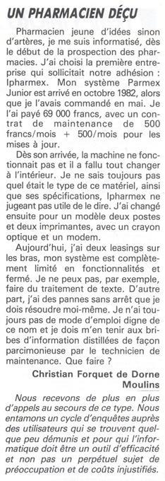 Un pharmacien déçu, TEMPS MICRO-DECISION PC n° 25 (mars 1987), p. 8 : retards de livraison, systèmes fermés, incomplets, maintenance défaillante... la dure réalité des débuts de l'informatisation des entreprises