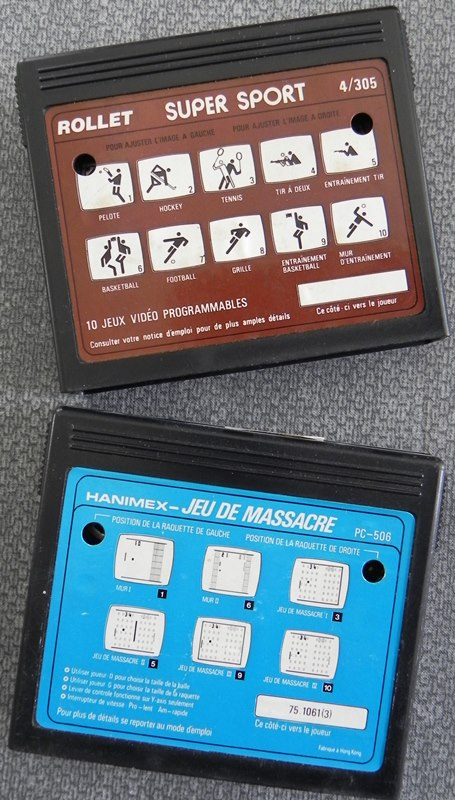 Cartouches de jeux Super Sport 4/305 (ROLLET) et Jeu de Massacre PC-506 (HANIMEX)