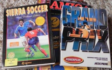 Jeux pour amiga : SIERRA SOCCER (SIERRA, 1994) et GRAND PRIX (MICROPROSE, 1994)
