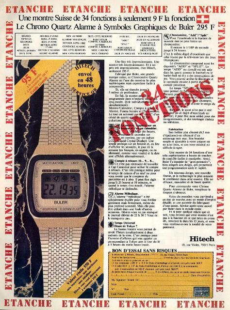 Publicité pour la montre multi-fonctions BULER (1982)