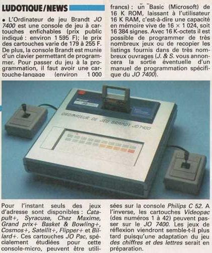 L'ordinateur de jeu Brandt JOPAC 7400 à 1595 francs (Jeux & Stratégie n° 26, avril-mai 1984, page 42)