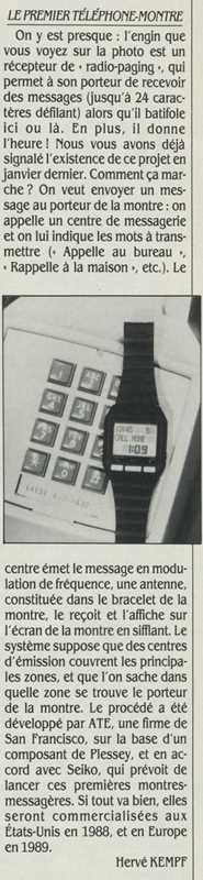 Le premier téléphone-montre, Science & Vie Micro n° 38 (avril 1987) p. 156