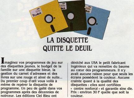 La disquette quitte le deuil : enfin la couleur ! (Science & Vie Micro n° 1, décembre 1983, p. 8)