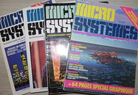 Micro-Systèmes n°19 (septembre/octobre 1981), 20 (novembre/décembre 1981), 46 (octobre 1984), 56 (septembre 1985) : état moyen (déchirures) sauf n° 20 et 56