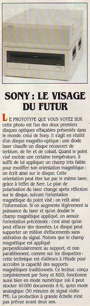 Sony : le visage du futur, SVM n° 15 (mars 1985), p. 11 : à l'ère de la disquette magnétique, Sony prépare l'avenir avec son disque optique numérique réinscriptible