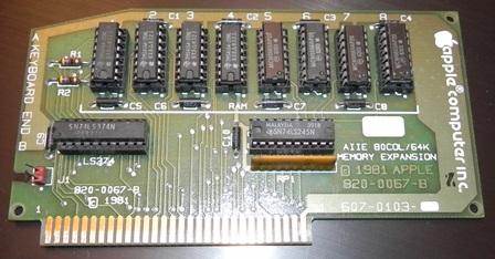 Carte mémoire pour Apple II (1981) : 64 Ko, une capacité phénoménale à l'époque !