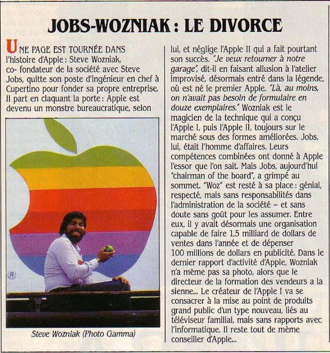 JOBS-WOZNIAK : le divorce, SVM n° 15 (mard 1985), p. 21