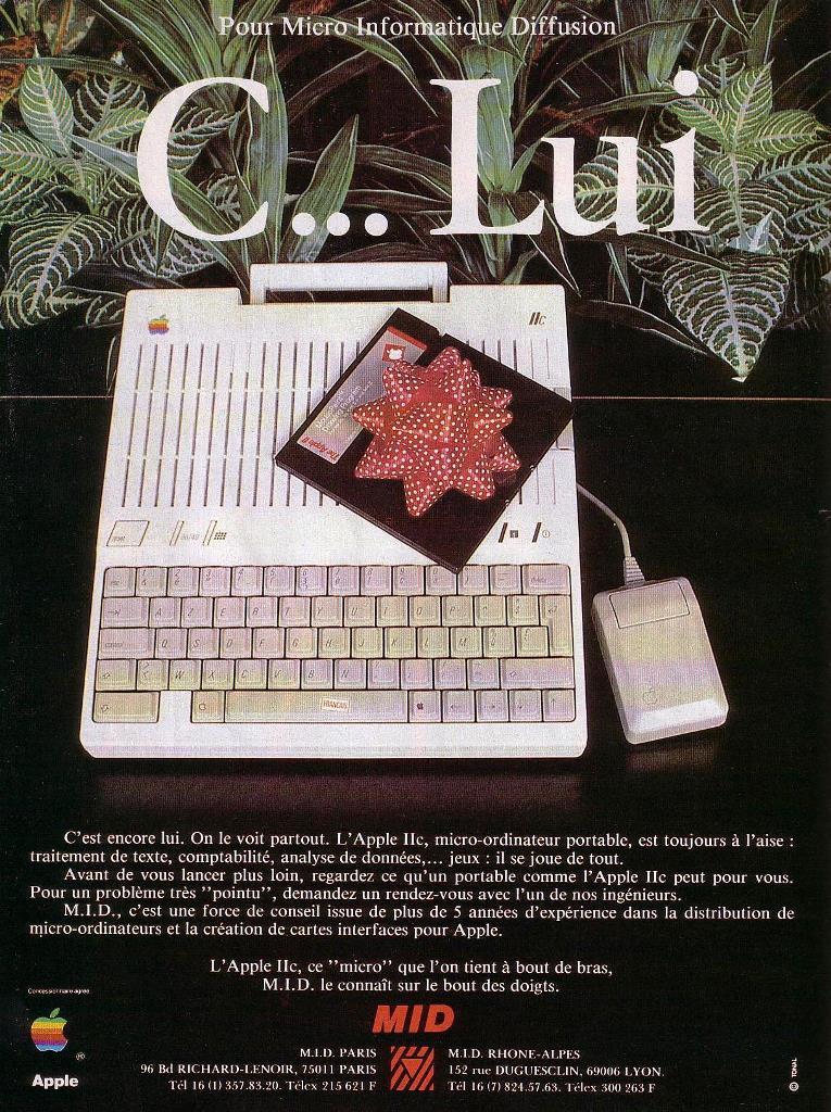Publicité pour l'APPLE IIc (1985)
