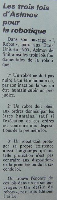 """Les trois lois fondamentales d'Asimov pour la robotique sont publiées en 1957 dans le livre """"I, Robot, Micro-Systèmes n° 33 (juillet-août 1983), p. 151"""
