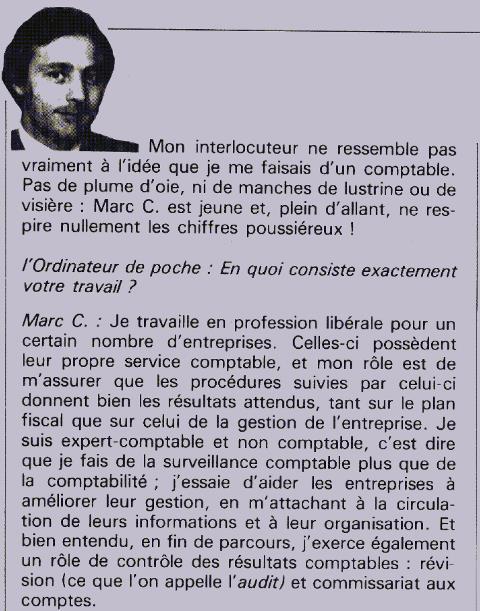 Extrait de l'interview d'un expert-comptable adepte de nouvelles technologies en 1981 (publiée dans L'Ordinateur de Poche n° 1 en avril 1981) : les préjugés ont la vie dure !