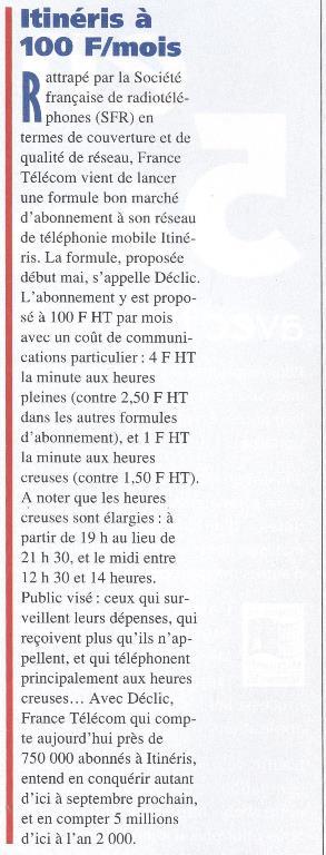 ITINERIS à 100 F HT / mois (SVM n° 138, mai 1996, p. 39)