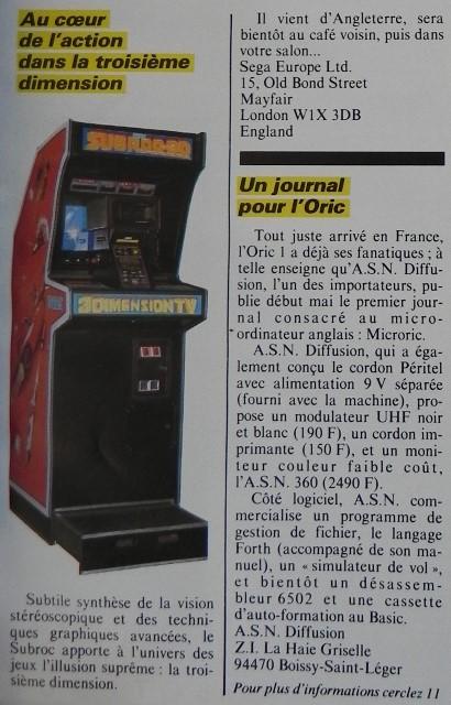Au coeur de l'action dans la troisième dimension, les jeux vidéo de café 3D selon SEGA, Micro-Systèmes n° 21 (juin 1983), p. 21