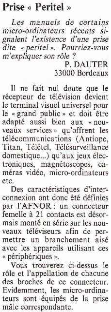 Les débuts de la prise Péritel suscitent des questions de la part des lecteurs de Micro-Systèmes (n° 20, novembre-décembre 1981)