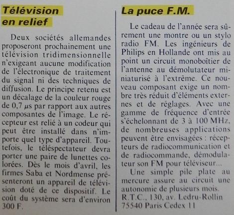 Les sociétés SABA et NORDMENSE annoncent la télévision 3D et PHILIPS miniaturise la radio FM à outrance (Micro-Systèmes n° 30, avril 1983, page 17)