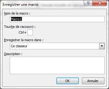 Fenêtre de l'enregistreur de macro