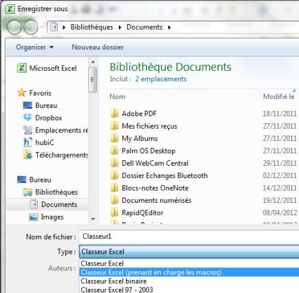 Enregistrement du classeur au format XLSM (classeur Excel prenant en charge les macros)