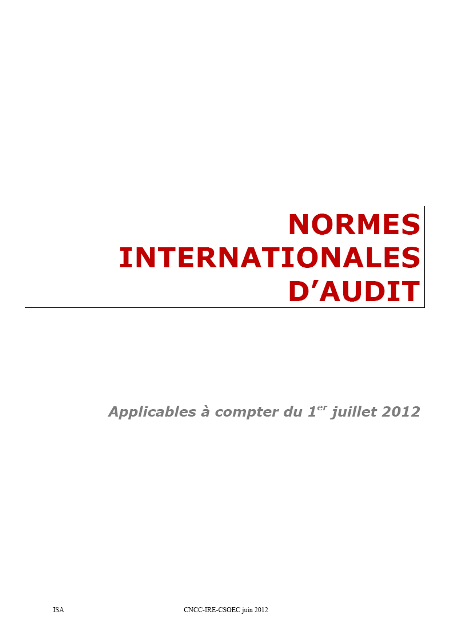 Les Normes Internationales d'Audit (ISA)