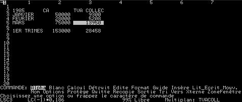 Copie d'écran d'une feuille de calcul sous MULTIPLAN v1.20 (1984)