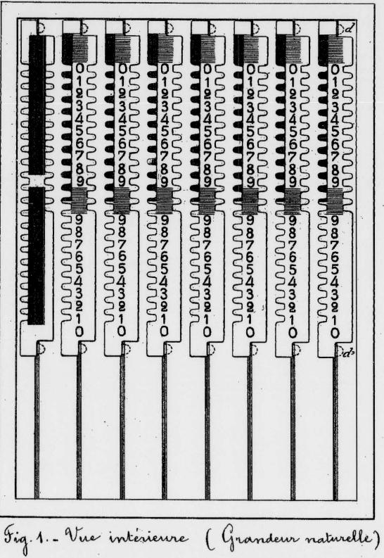 Vue de l'intérieur de l'Arithmographe TRONCET (extrait du brevet d'invention de 1889)