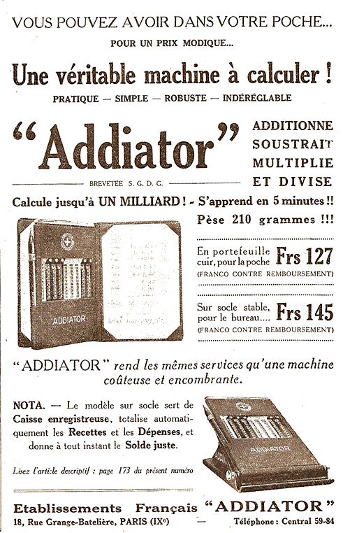 Publicité pour la machine à calculer ADDIATOR (1928)