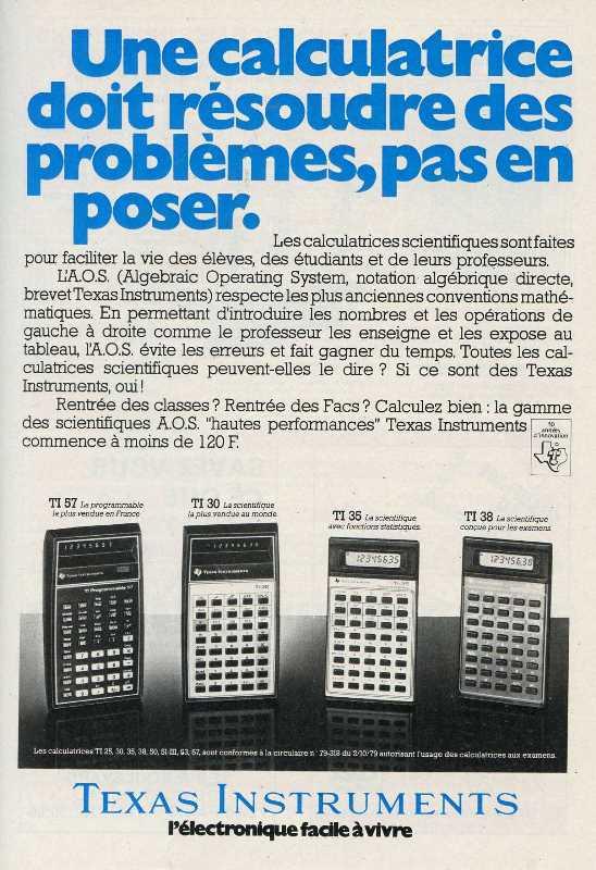Publicité pour les calculatrices Texas Instruments (1980)
