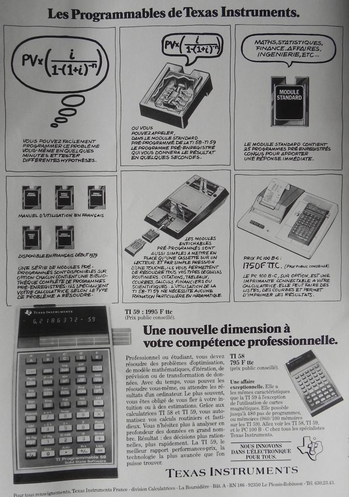 Publicité pour les calculatrices Texas Instruments TI-59 et TI-58 (1979)