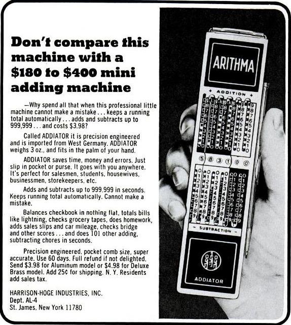 Publicité américaine pour l'ADDIATOR ARITHMA (1972)