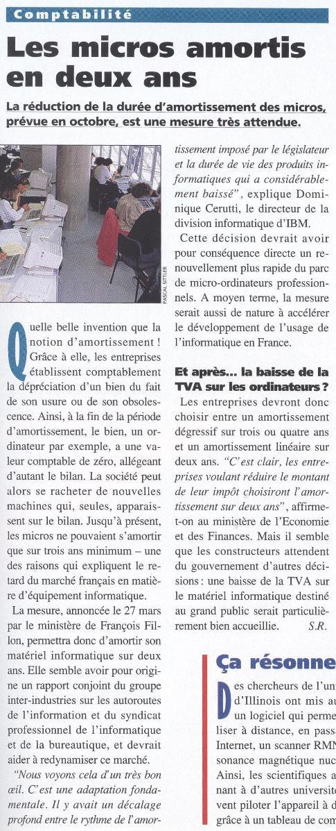 Les ordinateurs amortissables sur deux ans à compter d'octobre 1996 (SVM n° 138, mai 1996, p. 39)
