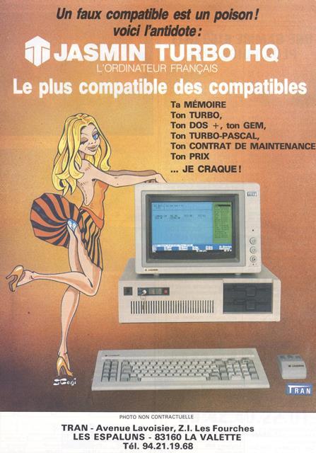 Publicité pour le PC Jasmin Turbo HQ (1987) : qui porte la culotte ?