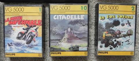 Quelques jeux emblématiques sur VG 5000 : La moto infernale, Citadelle (de Loriciels) et Le fou volant