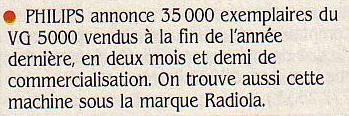 35000 exemplaires du VG 5000 écoulés en 1984 en seulement deux mois et demi, SVM n° 15 (mars 1985), p. 13