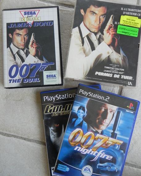 Jeux James Bond : The Duel (Master System), Permis de Tuer (Amstrad CPC), Nightfire et Goldeneye (PS2)