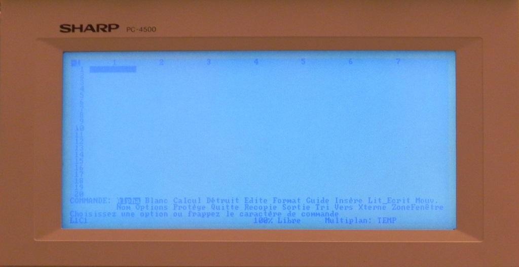 Le tableur MULTIPLAN JUNIOR v1.0 sur le portable PC-4502 de SHARP