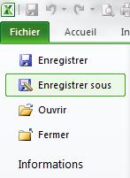 Excel : Menu Fichier, Enregistrer sous...