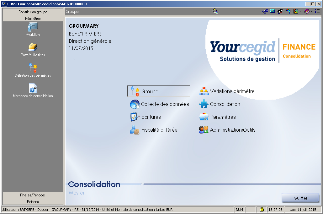 ETAFI CONSO - Ecran d'accueil