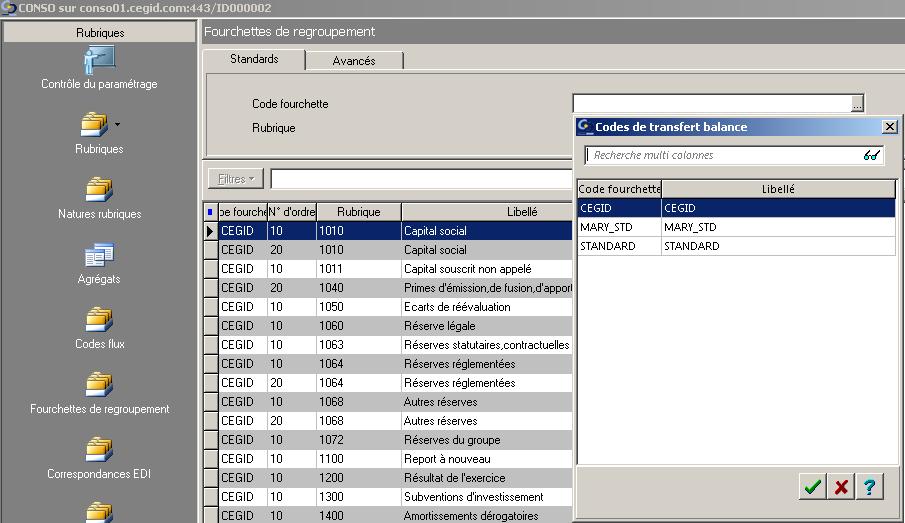ETAFI CONSO - Fourchettes de regroupement - Codes de transfert balance
