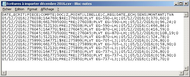 Fichier écritures comptables au format CSV à importer dans DCSnet