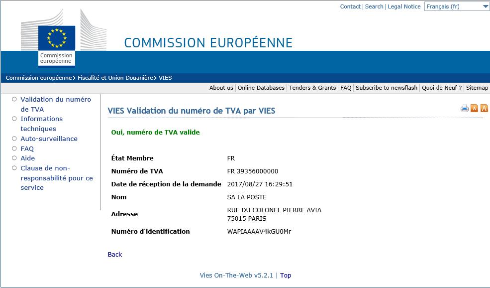 Validation numéro TVA intracommunautaire