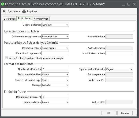 Définition du format de fichier à importer dans SAGE 100 Comptabilité i7