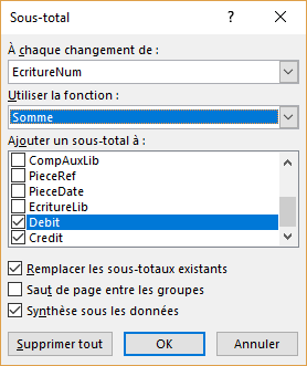 Sous-totaux - Options