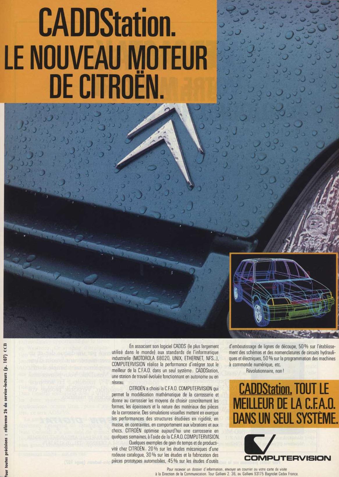 Publicité pour le logiciel de CFAO CADDStation de COMPUTERVISION adopté par Citroën (1988)