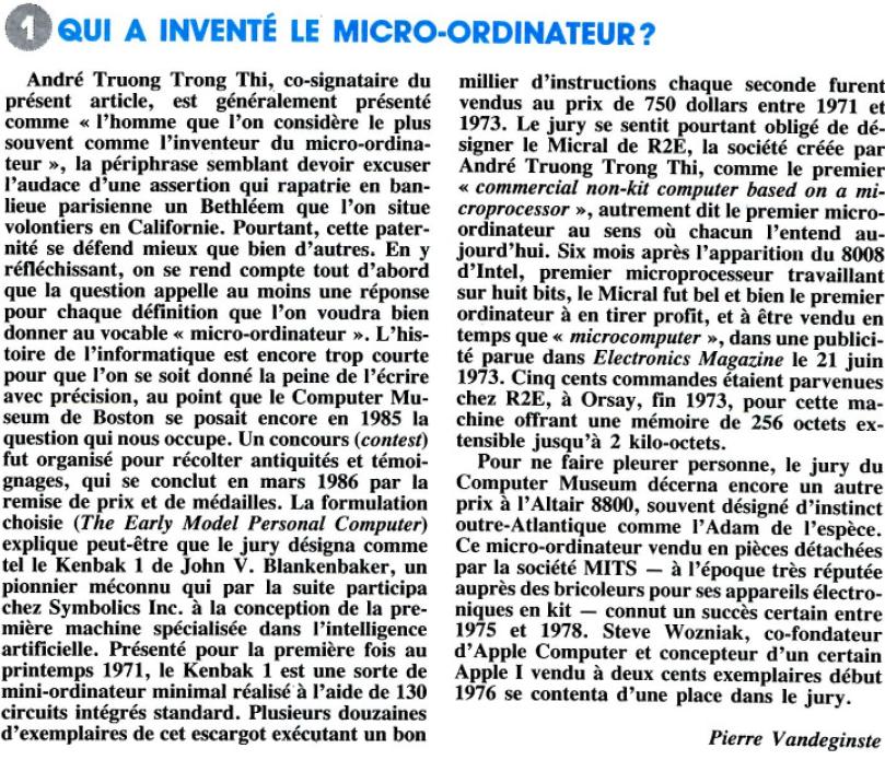 Qui a inventé le micro-ordinateur ? Recherche n° 204 (novembre 1988), p.1417