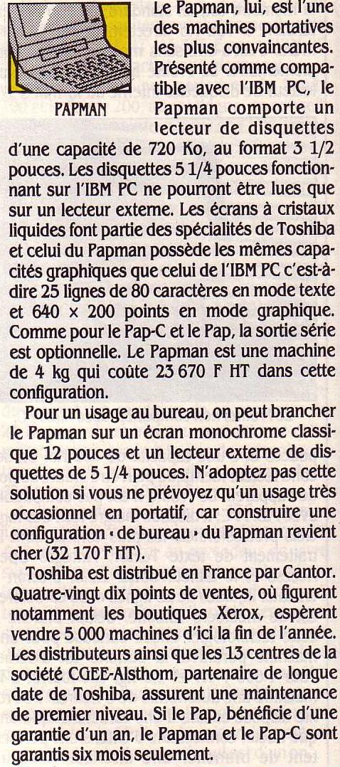Le PAPMAN de TOSHIBA, Science & Vie Micro n° 20 (septembre 1985), p.76