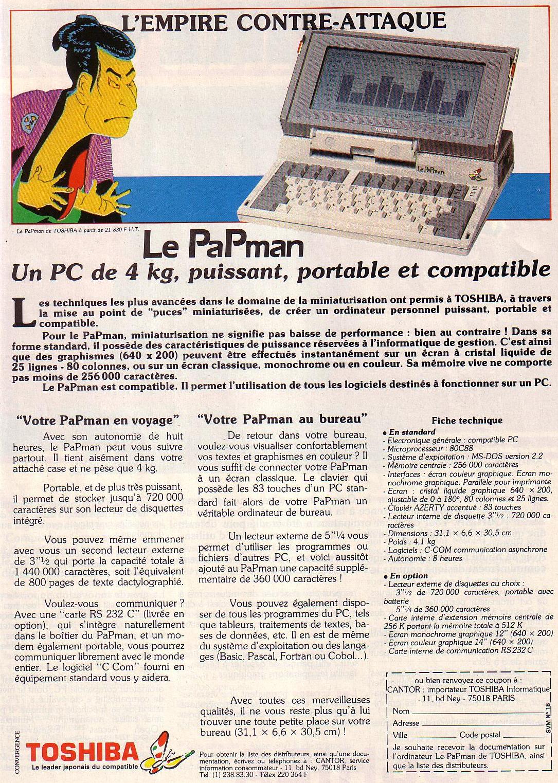 Publicité pour le PAPMAN (1985)