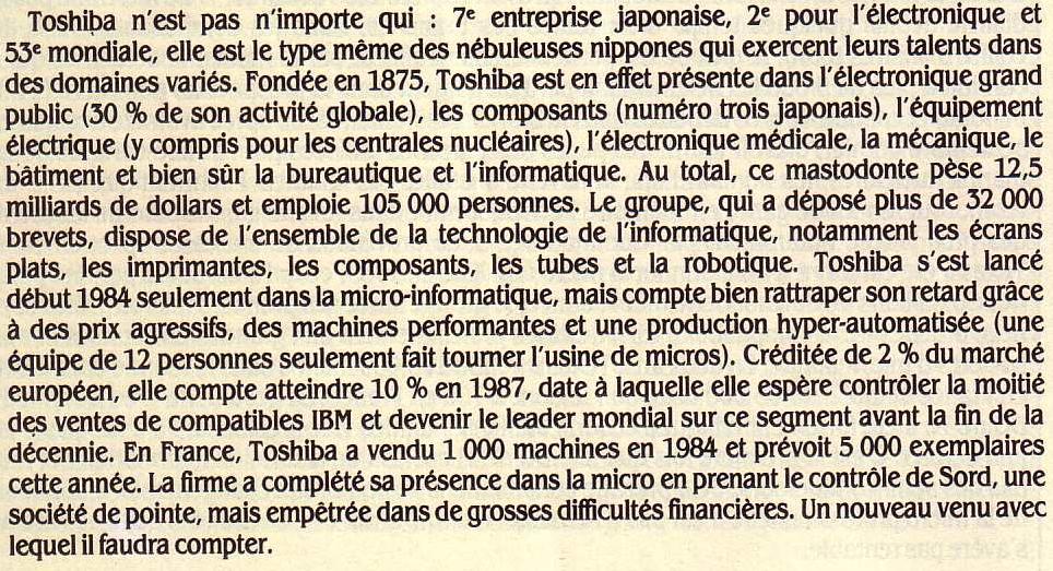 TOSHIBA en quelques chiffres, Science & Vie Micro n° 20 (septembre 1985), p.76