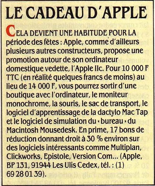 Le cadeau d'Apple (SVM n° 23 12/1985, p. 14)
