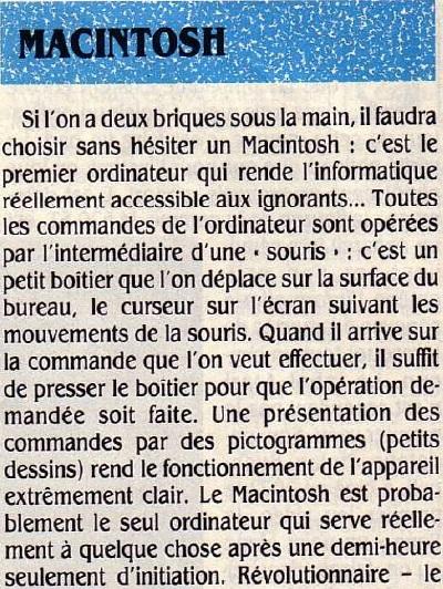 Macintosh : révolutionnaire mais cher (SVM n° 23 12/1985, p. 55)