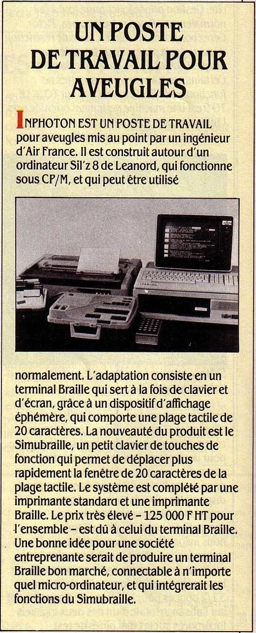 Un poste de travail pour aveugles (SVM n° 23 12/1985, p. 20)